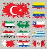 Splash flags set Mix. (Asia & South America). Without gradients and transparencies royalty free illustration