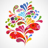 Splash of floral and ornamental drops background. Illustration for your design Stock Photo