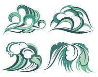 Sea wave symbols set Stock Photos