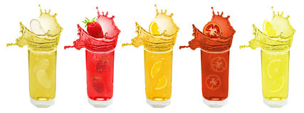 Splash fruit and berry juice Royalty Free Stock Photos