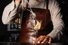 Splash in a glass with lemon barman on background Stock Photos