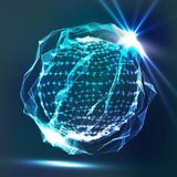 Splash Of Glowing Particles. Futuristic Cyber Backdrop. Flying Debris. 3D Vector Illustration. Royalty Free Stock Photography