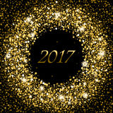 Splash of gold glittering spangled banner. New Year concept 2017. Splash of gold or glittering spangled banner in New Year concept 2017. Glowing frame with stock illustration