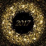 Splash of gold glittering spangled banner. New Year concept 2017. Splash of gold or glittering spangled banner in New Year concept 2017. Glowing frame with Stock Image