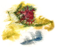 Splash green, red, blue paint blot watercolour color water ink i Stock Photography