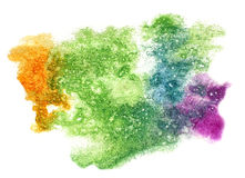 Splash green, yellow, purple paint blot watercolour color water Stock Photo