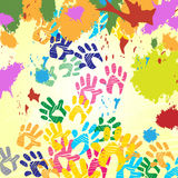 Splash Handprints Indicates Colorful Blobs And Human Royalty Free Stock Photos