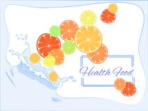 Splash Health Food Citrus fall in water. Cover, frame, wallpaper Royalty Free Stock Photography