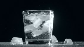 Splash of ice cube in glass water isolated on stock video