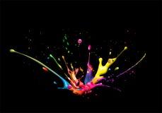 Splash. Illustration of a cmyk color splash on black background Royalty Free Stock Photos