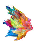 Splash of Imagination. Color Thinking series. Female profile executed with vibrant paint on subject of creativity, imagination, spirituality and art Royalty Free Stock Images