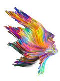 Splash of Imagination. Color Thinking series. Female profile executed with vibrant paint on subject of creativity, imagination, spirituality and art Royalty Free Stock Photography