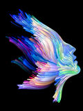 Splash of Imagination. Color Thinking series. Female profile executed with vibrant paint on subject of creativity, imagination, spirituality and art Royalty Free Stock Photo