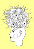 Splash imagination head, inspiration abstract thought, vector hand drawn Royalty Free Stock Photography