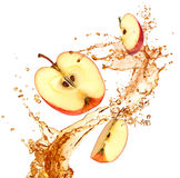 Splash juice with apple Stock Photo
