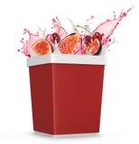 Splash of juice boxes Stock Photos