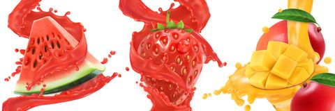 Splash of juice. 3d vector icon set. Splash of juice. Watermelon, strawberry, mango, summer fruits and berries. 3d realistic vector icon set Stock Photos