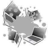 Splash with laptops. Vector illustration Royalty Free Stock Images