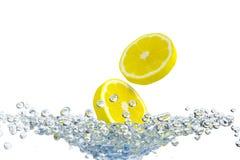 Splash and lemon. Abstract water, splash and lemon vector illustration