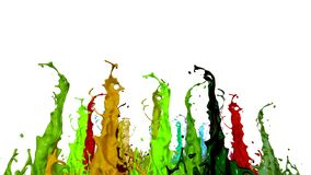 Splash of liquid paint on music speaker. 3d animation in 4k. 8. Splash of liquid paint on music speaker. 3d animation in 4k stock footage