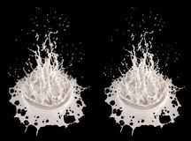 Splash - liquid splash (milk) - with and without Depth of Field effect Royalty Free Stock Photo