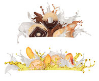 A splash of milk, chocolate. And juice on a white background Royalty Free Stock Images