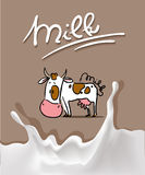 splash milk design with cow cartoon and milk symbol - vector Royalty Free Stock Photography