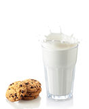 Splash of milk glass with cookies Royalty Free Stock Photography