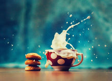 Splash of milk with various grain biscuits. Whitefresh healthy water and cookies.  Royalty Free Stock Photography