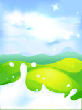 Splash of milk - vector illustration with green field Stock Photo