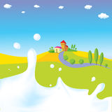 Splash of milk - vector illustration with green field, village Stock Image