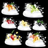 Splash milk or yogurt. Set with fresh fruit, berries and vanilla. 3d realistic vector on black background. Splash milk or yogurt. Set with fresh fruit, berries royalty free illustration