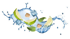 Splash of mohito cocktail Stock Images