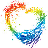 Splash multicolored heart on white Royalty Free Stock Photos