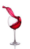 Splash Of Red Wine In Glass Stock Photography
