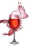 Splash Of Red Wine In Glass Stock Photo