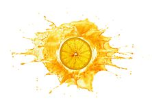 Splash with orange slice in the middle. Back lit. on white background. Big splash with orange slice in the middle. Back lit, Isolated on white background royalty free illustration