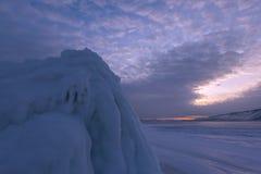The icy splashes on cape Hadarta royalty free stock image