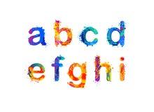 Splash paint alphabet. Letters. Part 1 of 3. Alphabet of watercolor splash paint. Letters. Part 1 of 3 Stock Image