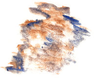 Splash paint brown, blue blot watercolour color water ink isolat Royalty Free Stock Image