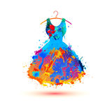 Splash paint dress. Vector multicolored icon Stock Image