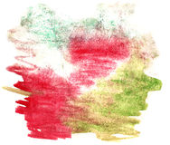 Splash paint green, red blot watercolour color water ink isolate Royalty Free Stock Photos
