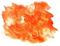 Splash paint orange blot watercolour color water ink isolated wa Royalty Free Stock Images
