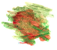 Splash red, green paint blot watercolour color water ink isolate Royalty Free Stock Photo