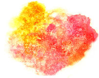 Splash red, yellow paint blot watercolour color water ink isolat Stock Photography