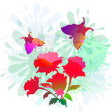 Splash,Rose & Butterly-vector Stock Images