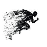 Splash runner silhouette, ink running man. Grungy vector silhouette Royalty Free Stock Photography