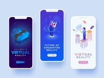Splash screen for andriod mobile or website for virtual reality. Concept stock illustration