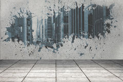 Splash showing cityscape Royalty Free Stock Image