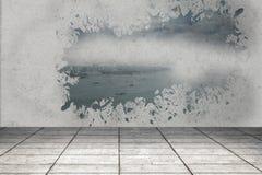 Splash showing coastline. In grey room Stock Photo